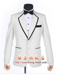 Wholesale Stylish Grooms Tuxedos White - New Stylish White Groom Tuxedos Notched Lapel Two Button Men's Wedding Dress Prom Clothing Suit(Jacket+pants+tie+Girdle)