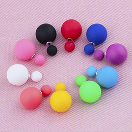 Wholesale Cc Studs - Double Side Matted Pearl Earrings Cute Candy Plasticine Big Ball Stud Earings Bohemian Wedding Jewelry gift for Women girls CC 2