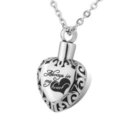 Wholesale Anniversary Bag - Cremation Jewelry Always In My Heart urn pendant Necklace Locket Memorial Ash Keepsake with gift bag&chain