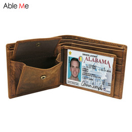 Wholesale Custom Licenses - Creative driver's license Wallet Male Genuine Leather Purses Vintage coin purse Card Holder Short Wallets Men Gifts custom name