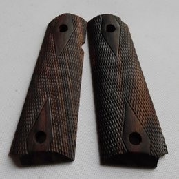 Wholesale Ebony Carved - colt 1911 full size government Indonesia ebony,wax with hand carved checkers and diamonds finish wood grips 002-1