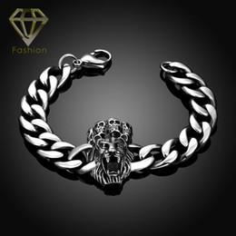 Wholesale Jewellery Designs Bracelets - Christmas Gift Punk Design 316L Stainless Steel Dragon Animal Head Lobster Link Chain Bracelet Jewellery for Men Boys