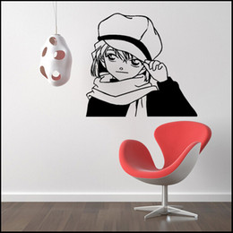Wholesale Anime Wall - Anime Cartoon The Detective Cocan Kudou Shinichi Skating Haibara Ai Case Closed PVC Hollow Out Environmental Wall Sticker Decal Home Decor
