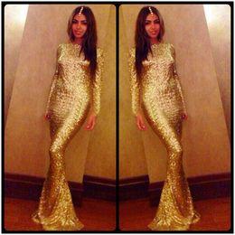 Wholesale Mermaid Prom Dresses For Sale - 2016 Sparkling Gold Sequins Mermaid Evening Dresses Long Sleeves Formal Party Dress Custom vestidos de festa Long Prom Gowns For Sale