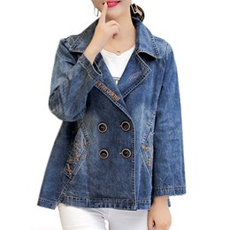 Wholesale Double Breasted Jeans - Wholesale- 2017 Autumn Spring Women Oversized Jeans Jackets coats outerwear Ladies Plus Size Loose Embroidered Vintage Denim Jacket