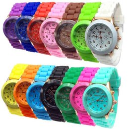 Wholesale geneva watches silicone band - 2015 shadow style Geneva Crystal Classic Gel Silicone Lady candy color Band with 3eyes Watch Quartz Women Wrist Watch 15color DHL free