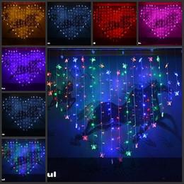 luci meteorite blu Sconti Stringa variopinta a forma di cuore delle luci del LED della farfalla con la luce d'attaccatura del regolatore per le decorazioni all'aperto / dell'interno della festa di Natale di nozze