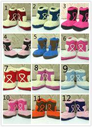 Argentina 2015 2015 nuevos botines de ganchillo recién hechos a mano zapatos de bebé niña de algodón de moda botines de invierno de punto zapatos de bebé 0-12M algodón Suministro