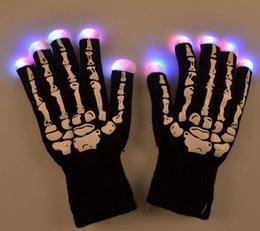Wholesale Luminous Gloves - Wholesale-Halloween Skull GloveS LED Flash Luminous Gloves Christmas Party for Men&Women Full Fingers