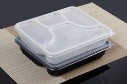 Spedizione gratuita 4 scomparti di alta qualità scatola di bento monouso per uso alimentare PP portare via scatole di imballaggio alimentare per il commercio all'ingrosso da usa e getta bento all'ingrosso fornitori