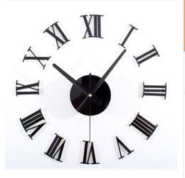 Clássico preto 3 d DIY numerais romanos relógio de parede combinação Criativa do relógio de parede DIY relógio de