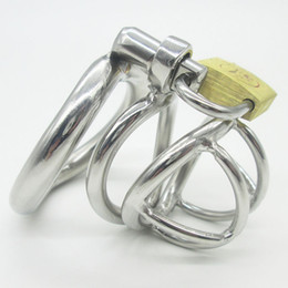 Wholesale Steel Bondage Chastity - NEW Stainless Steel Super Small Male Chastity device Adult Cock Cage With Curve Cock Ring BDSM Sex Toys Bondage Chastity belt