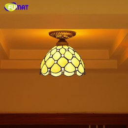 Wholesale Mosaic Glass Lamps - FUMAT Baroque Stained Glass Lamp European Indoor Light Fixtures For Front porch Aisle Vitrage Lights Mosaic Ceiling Lamps