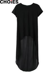 Wholesale Tunic Chiffon Shirt - Women Black Chiffon Patchwork Hi-Lo High Low Loose Short Sleeve Straight Midi Shift T-shirt Dress Tunics Semi Sheer Back