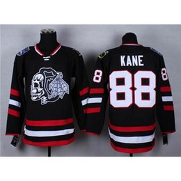 Wholesale Cheap Heads - Cheap Blackhawks #88 Patrick Kane Black Hockey Jerseys Stadium Series White Skull Head Ice Hockey Wears Hot Sale American Hockey Uniforms