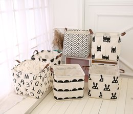 Wholesale Fabric Desk - Foldable Mini Storage Basket Square Black and White Theme Natural Linen & Cotton Fabric Storage Bins Simple Desk Shelf Baskets Organizers