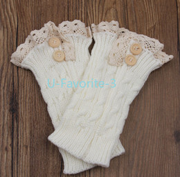 Wholesale Wholesale Boutique Boot Socks - Wholesale-2015 Women Fashion knit boot cuffs acrylic cable pattern lace boot socks buttons leg warmers boutique accessory knitted gaiters