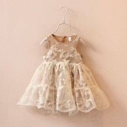 Wholesale Beige Chiffon Dress Girl - 2016 Spring Summer Tulle lace Dresses Kids Girls crochet floral princess tutu party dress children's clothes