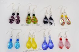 Wholesale Glass Beads Tear Drops - 8 Pairs lot Angel Tears Drop Multi-color Charm Glass Beads Dangle Earrings Brand New E53