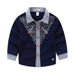 Wholesale Clothing Fashion Children Winter - 2016 Children clothing new Handsome middle baby boy shirts Gentle plaid collar contrast cashew t shirt for boy kids clothing boys clothes