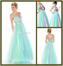 Wholesale Strapless Tulle Ballgown - Wholesale - 2014 New Design Rainbow Prom Dresses Exquisite Beaded Empire Waist Strapless Ballgowns Multi-colored Evening Gowns Sexy Backle