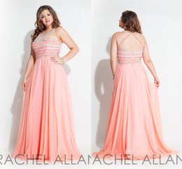 Wholesale Chiffon Heavy - 2016 Plus Size Gowns Dresses Rachel Allan Prom A-Line Sleeveless Heavy Beaded Chiffon Light Coral Evening Dresses Wear Custom Made