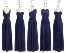 Wholesale Cheap One Shoulder Dress - Custom Made 5 Styles Long Bridesmaid Dresses A Line Back Zipper Floor Length Navy Blue Chiffon Ruched Cheap Prom Evening Party Dress