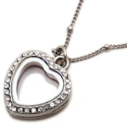 Wholesale Small Beaded Necklaces - Small Crystal Silver Plated Necklace Heart Living Memory Locket Pendant Necklaces Women Floating Charms Jewelry Y132