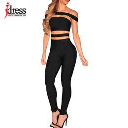 Wholesale jumpsuits longo - Wholesale- IDress Black Hollow Full Pants Jumpsuit Sexy Club Party Tracksuit Ukraine Combinaison Femme Macacao Feminino Longo Body Feminino