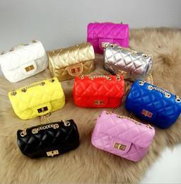 Wholesale Baby Grid - Baby Girl Fashion Bag Accessories Kids Handbags Children PU Leather Party Bag mini Shoulder bags Ling grid chain bag KKA3395
