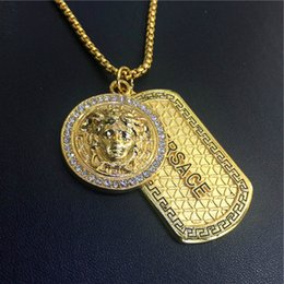Wholesale Trendy Necklaces For Men - New fashion Punk medusa hip hop Gold neckalce Silver Metal dog tag with diamonds Pendant necklaces Hip Hop Jewelry for Men Wome
