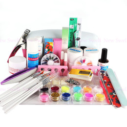 Wholesale Uv Light Cure Gel - Wholesale-Nail Kit 9w EU Plug UV lamp light cure gel French Tips polish Nail Art Glue Dust file buffer Kits