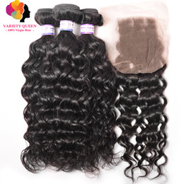 Wholesale Human Hair Tissage Curly - 4 Bundles 7A Brazilian Water Wave With Closure Tissage Bresilienne Curly 100% Virgin Remy Human Hair Weave Wet And Wave Hair Bundle Deals