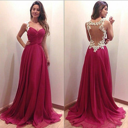 Wholesale Luxury Ladies Dress Prom - Prom dresses 2015 Women Vintage Luxury Deep V-Neck Hollow Lace Sheer Back Chiffon Long Maxi Dress Ladies Girls Sexy Party Formal Dresses