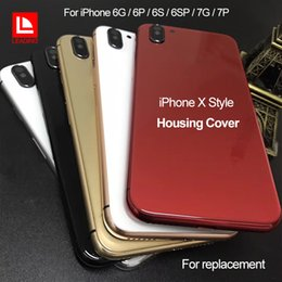 Wholesale Iphone Back Side - For iPhone 6 6P 6S 6SP 7 7P Plus Back Housing Cover Like iPhone X Style Metal Glass Back Cover with Side Buttons