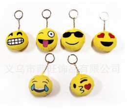 Wholesale Smallest Compass - New Keychains 6cm Emoji Smiley Small pendant Emotion Yellow QQ Expression Stuffed Plush doll toy bag pendant for 2016 Christmas gift