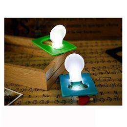 Wholesale Wallet Sized Led Light - Wholesale-2017 5X Mini Wallet Pocket Credit Card Size Portable LED Night Light Lamp Bulbs Cute