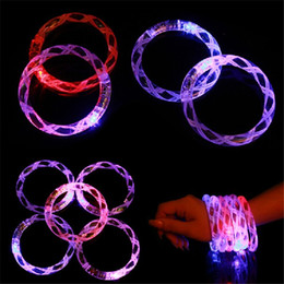 glow glitter Promo Codes - LED Acrylic Flash Bracelet Glitter Glow Flash Bracelet Light Sticks Luminous Crystal Gradient Color Hand Ring Bangle with Bubble Striped