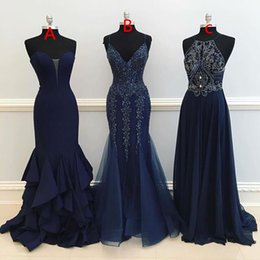 Wholesale Maxi Chiffon Maternity Dress - 2017 Maxi Style Prom Dresses Beaded Crystal Mermaid A Line Dark Navy Blue Formal Evening Dresses Occasion Party Gown Custom Made