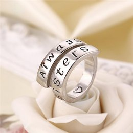 Wholesale Fashion For Friends - Fashion 925 Sterling Silver Rings For Ladybro With Words Forever Friends And Sister For Women freeshipping