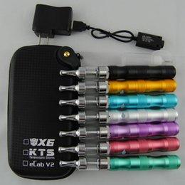 Wholesale Ecig Kts - KTS X6 Ecig V2 Starter kit Variable Voltage 1300MAH Battery X6 Atomizer E Cigarette Vaporizer Pen Wax DHL free 10pcs
