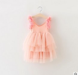 Wholesale Korean Wholesale Childrens Clothing - children korean dresses 2016 New Flower Tulle baby lace dress Flower Lace Princess Girls Tutu Dress childrens clothes CX232