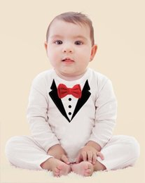 Wholesale Long Sleeve Baby Romper Tuxedo - 1pcs newborn Boy Baby Formal Suit Tuxedo Romper Pants Jumpsuit Gentleman Clothes for infant baby romper jumpsuits