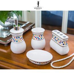 Wholesale Ceramic Lotion Bottles - Porcelain Simple Bathroom Articles Ceramic 4pcs Sets Toothbrush Cup Wash Hands Lotion Bottle Soap Dish Housewarming Wedding Gift