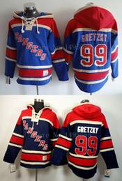Sweats à capuche jersey de hockey en Ligne-Factory Outlet, Maillot de Hockey sur glace New York Rangers # 99 Wayne Gretzky Maillots Old Time Hockey Sweat à capuche pour hommes
