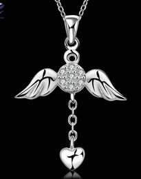 Wholesale Wing Heart Necklace Diamond - Designer cz diamond wholesale fashion jewelry Angel wings heart love pendant necklace 925 sterling silver chain Valentine's gift HJIA058