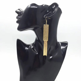 Wholesale Mesh Dangle - LONG MESH FRINGE EARRINGS GOLD TONE METALIC MESH TASSEL DANGLE EARRINGS FOR WOMEN BLACK SHOULDER EARRINGS