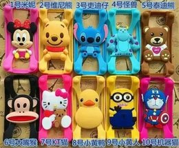 Wholesale Doll Silicone Case - 100pcs lot for iPhone 6s Samsung HTC LG Sony Nokia Universal Silicone Bumper Frame Cartoon Character Case Mickey Bear Stitch Monster Doll