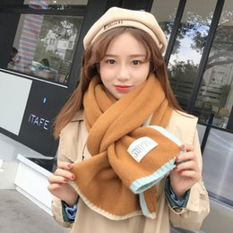 Wholesale Korea Scarf - 2017 new style Korea knitted wool scarf Pure color labeling scarf Thickening and warm All-match female lovers