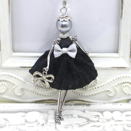 Wholesale Necklace French - 2016 New Fashion French Doll Necklace Jewelry Ctue dress doll pendant handmade women necklace gifts Wholesale free shipping